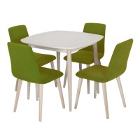Set masa fixa cu 4 scaune tapitate Tokyo, bucatarie, gri + verde