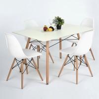 Set masa fixa London cu 4 scaune Rico, alb + natur