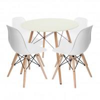Set masa fixa Chad cu 4 scaune Rico, alb + natur