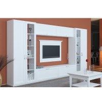 Biblioteca living Valentino, furnir alb, 360 cm, 10C