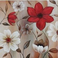 Tablou, compozitie cu flori, canvas + lemn de brad + vopsea acrilica, 70 x 70 cm