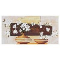 Tablou 118 DL-08014, compozitie cu flori, canvas + lemn de brad + vopsea acrilica, 50 x 100 cm