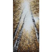Tablou, peisaj, canvas + lemn de brad + vopsea acrilica, 100 x 50 cm