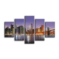 Tablou 5 piese, 118 DED-004, canvas + lemn de brad + vopsea acrilica, stil orase si arhitectura, 2 piese - 25 x 40 cm + 2 piese - 25 x 60 cm + 1 piesa - 25 x 80 cm