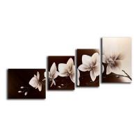 Tablou 4 piese, 118 DED-171047, canvas + lemn de brad + vopsea acrilica, stil floral, 1 piesa - 40 x 50 cm + 1 piesa - 35 x 45 cm + 1 piesa - 30 x 50 cm + 1 piesa - 40 x 60 cm