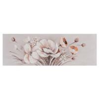 Tablou canvas DED-171415, compozitie cu flori, panza + lemn de brad + vopsea acrilica, 40 x 120 cm