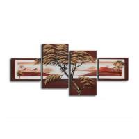 Tablou 4 piese, 118 DED-171101, canvas + lemn de brad + vopsea acrilica, stil peisaj, 2 piese - 30 x 40 cm + 2 piese - 60 x 35 cm