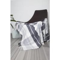Patura Toscana 140 x 200 cm, lana + acrilic + poliester, alb + gri