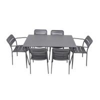 Set masa dreptunghiulara, cu 6 scaune, pentru gradina 2F 24771, din metal