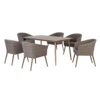 Set masa dreptunghiulara, cu 6 scaune cu perne, pentru gradina Norway, din metal cu ratan sintetic