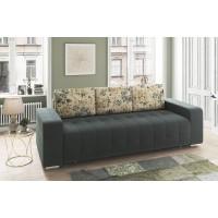 Canapea extensibila 3 locuri Olivia, cu lada, maro + model floral, 233 x 96 x 89 cm, 1C