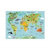 Sticker decorativ perete, camera copii/living/birou, World Map, PT2172, 50 x 70 cm