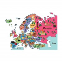Sticker decorativ perete, camera copii / living / birou, World  Map 2,  PT2174, 50 x 70 cm