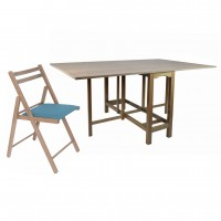 Set masa plianta Patio cu 6 scaune tapitate Igor, bucatarie, maro trufa + albastru