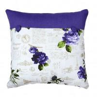 Perna decor N-8628, mov + alb, bumbac + poliester, cu print floral, 40 x 40 cm