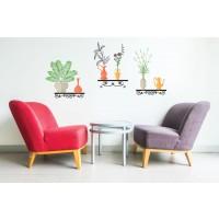 Sticker decorativ perete, living, Flori cu vaze si suporti Vintage, PT2314, 55 x 118 cm