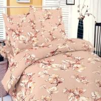 Lenjerie de pat, 2 persoane, Deluxe Pucioasa Magnolia salmon, bumbac 100%, 4 piese, roz
