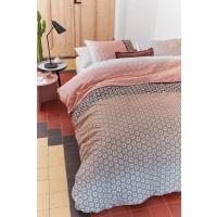 Lenjerie de pat, 2 persoane, Mare nude, bumbac 100%, 4 piese, alb + roz + negru