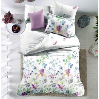 Lenjerie de pat, 2 persoane, Carrol 01, poliester 100%, 4 piese, multicolor