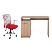 Birou calculator Rey, stejar sonoma + scaun birou operational Hatteras, alb + rosu