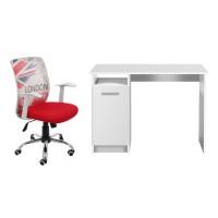 Birou calculator Rey, alb + scaun birou operational Hatteras, alb + rosu