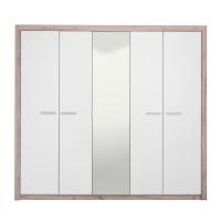 Dulap dormitor Astor 5K1O, stejar gri + alb lucios, 5 usi, cu oglinda, 224 x 55.5 x 204 cm, 5C