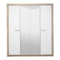 Dulap dormitor Astor 4K2O, stejar gri + folie lucioasa alba, 4 usi, cu oglinda, 179.5 x 55.5 x 204 cm, 5C