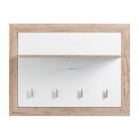 Cuier hol Astor CIV, pentru perete, cu 5 agatatori, stejar gri + folie lucioasa alba, 930 x 240 x 710 mm, 1C