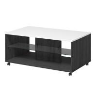 Masuta living Bert, dreptunghiulara, lemn negru + alb lucios, 101 x 60 x 45 cm, 1C