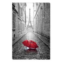 Tablou dualview BLACK1321, Umbrela rosie in Paris, canvas + lemn de brad, 60 x 90 cm