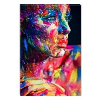 Tablou dualview DTB7101, Femeie pictata, canvas + lemn de brad, stil abstract, 60 x 90 cm