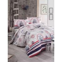 Lenjerie de pat, 2 persoane, Latte Fairway, policoton, 4 piese, alb + rosu + albastru