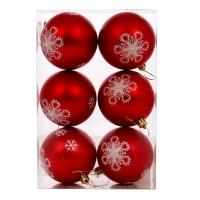 Globuri Craciun, rosu, D 8 cm, set 6 bucati, SY18CD-012