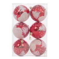 Globuri Craciun, rosii, D 8 cm, set 6 bucati, SY18CD-015