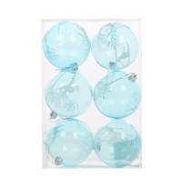 Globuri Craciun, albastru deschis, D 8 cm, set 6 bucati, SY18CD-021