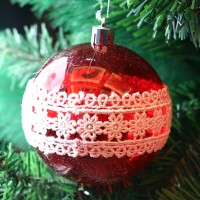 Globuri Craciun, rosu + alb, diametru 8 cm, set 6 bucati, SY18CD-035