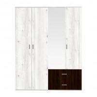 Dulap dormitor Raul D4, gri A480 + sonoma dark, 4 usi, cu oglinda, 160 x 50 x 206 cm, 4C