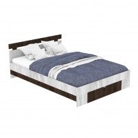 Pat dormitor Raul, matrimonial, cu sertar + saltea Viscotex, gri A480 + sonoma dark, 140 x 200 cm