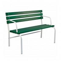 Banca pentru gradina, parc, cu spatar, metal + lemn, verde, 120 x 41 x 48.5 / 85 cm, Iasomie