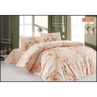 Lenjerie de pat, 2 persoane, Laura, bumbac 100%, 4 piese, portocaliu