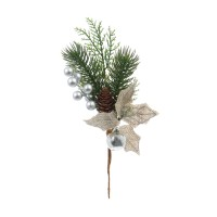 Decoratiune Craciun, tip crenguta de brad, verde + maro + gri, 25 cm, SYCW18A-063