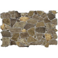 Panou decorativ Stone Wild Brown, PVC, maro, 98.4 x 63.3 cm, 0.6 mm