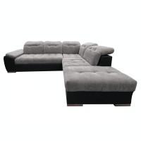 Coltar living extensibil pe stanga Enzo, gri + negru, 260 x 225 x 80 cm, 2C