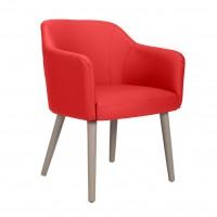 Scaun bucatarie / living fix Alice, tapitat, lemn gri + imitatie piele rosie