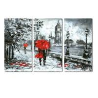 Tablou TA17-PA12011, 3 piese, compozitie, canvas, 30 x 60 cm