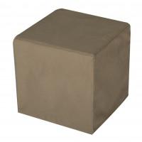 Taburet Joy tip cub, fix, patrat, stofa bej inchis, 40 x 40 x 40 cm