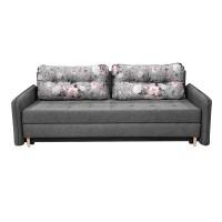 Canapea extensibila 3 locuri Lucky, cu lada, gri + model floral, 225 x 95 x 75 cm, 2C