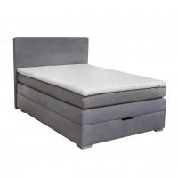 Pat dormitor Boxspring Serene, matrimonial, tapitat, gri, cu saltea + topper, 140 x 200 cm, 3C