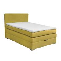 Pat dormitor Boxspring Serene, matrimonial, tapitat, galben, cu saltea + topper, 140 x 200 cm, 3C