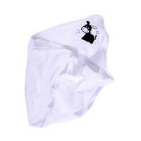 Prosop baie Cuddly Friends, pentru bebelusi, cu capison, bumbac, alb, 75 x 80 cm